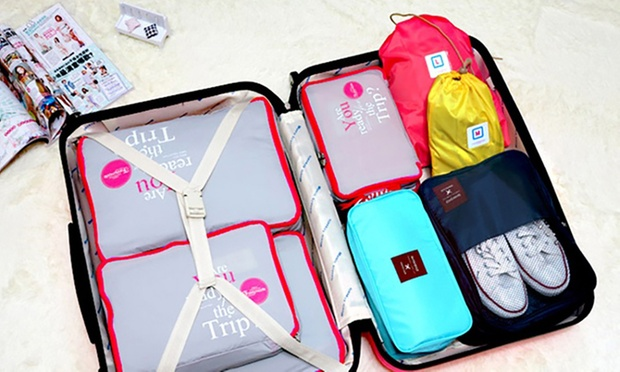 Five Piece Luggage Organiser Set with Mesh Compartments: One ($15) or Two Sets ($25)