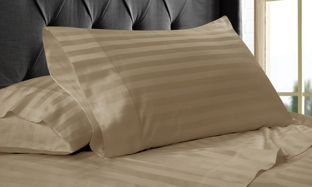 Free Shipping: 1,000 Thread Count Cotton Stripe Sheet Set or Quilt Cover Set: Queen ($49) or King ($59)