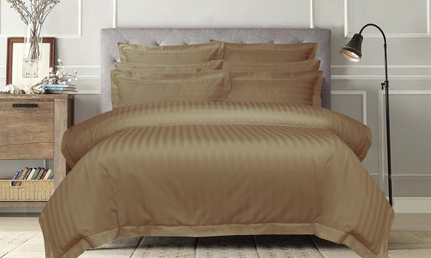 1000 Thread Count Cotton Stripe Sheet Set or Quilt Cover Set: Queen ($39) or King ($49)