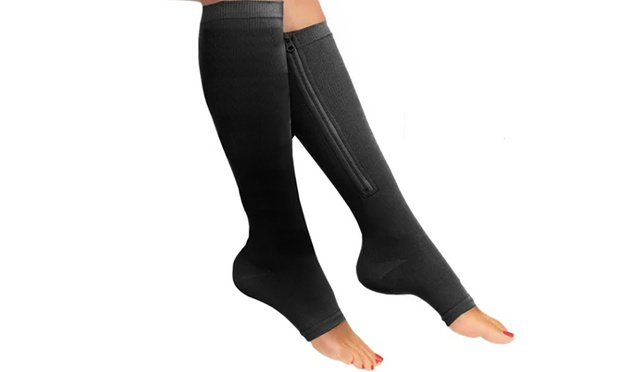 Knee High Zipped Open Toe Compression Socks: One ($9.95), Two ($16.95) or Four Pairs ($24.95)