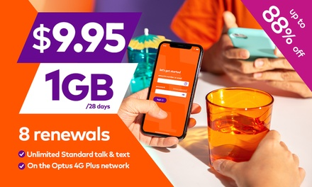 $9.95 for Eight Renewals of amaysim Unlimited 1GB Mobile Plan with 28 Days Expiry (Dont Pay $80)