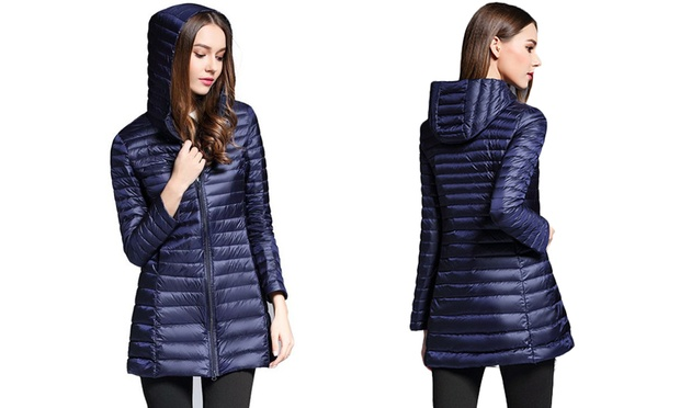 100% Down Longline Womens Hooded Puffer Jackets in Choices of Size and Colour: One ($39) or Two ($69)