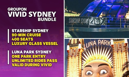 VIVID + LUNA PARK BUNDLE: $49 for 90 Min Vivid Cruise + Luna Park Ticket with Starship Sydney (Up to $94 Value)