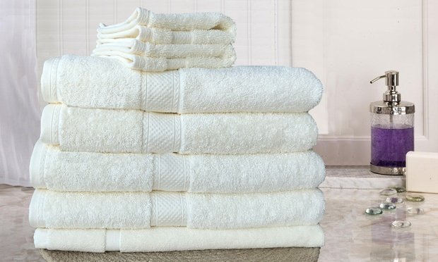 100% Egyptian Cotton Towel Set in Choice of Colour: Seven ($39) or Fourteen ($69)