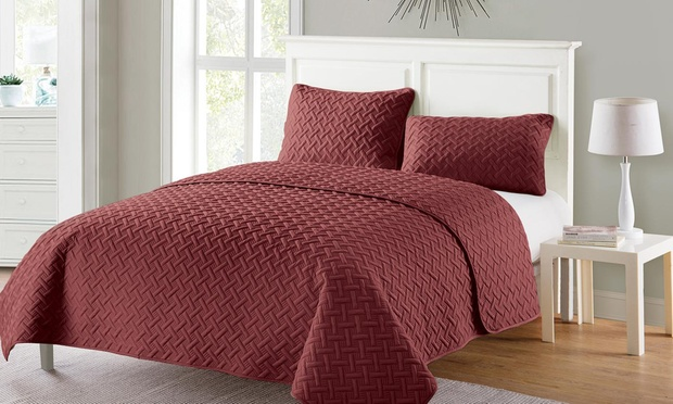 Three Piece Embossed Comforter Set: Queen ($35) or King ($45) (Dont Pay up to $129)