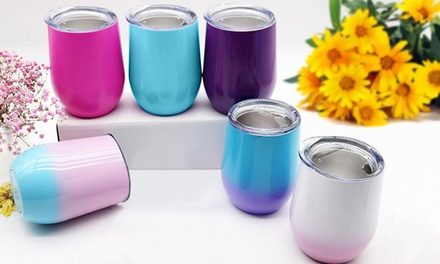 Reusable 360ml Stainless Steel Wine Mug with Lid: One ($15) or Two ($25)
