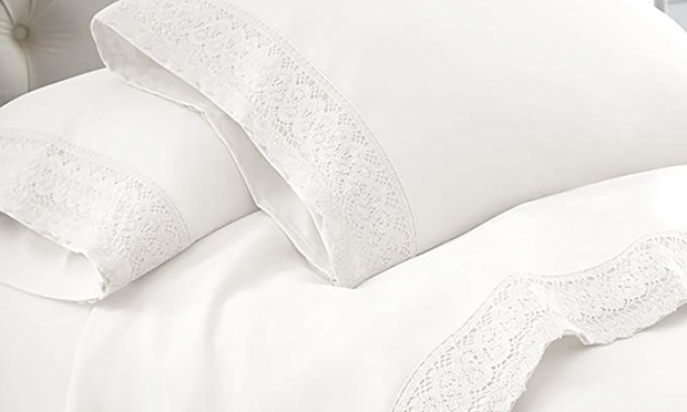 From $22 for a 1500TC Crochet Lace Microfibre Sheet Set (Dont Pay up to $119)